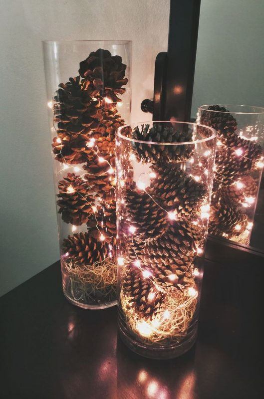 pinecones with fairylights