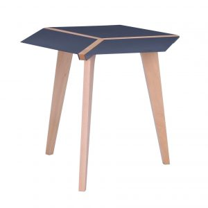 simeone hexagon coffee table in iridium colour steel top with beech wood colour legs